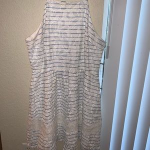 White & blue striped sundress